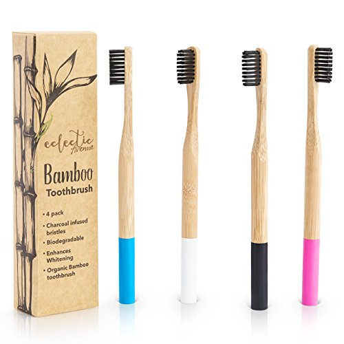Bamboo Toothbrush Charcoal Infused 4 pack. 100% natural biodegradable eco-friendly wooden toothbrush. BPA Free, Charcoal infused soft Nylon bristles for adults and kids. Family 4 pack toothbrushes.