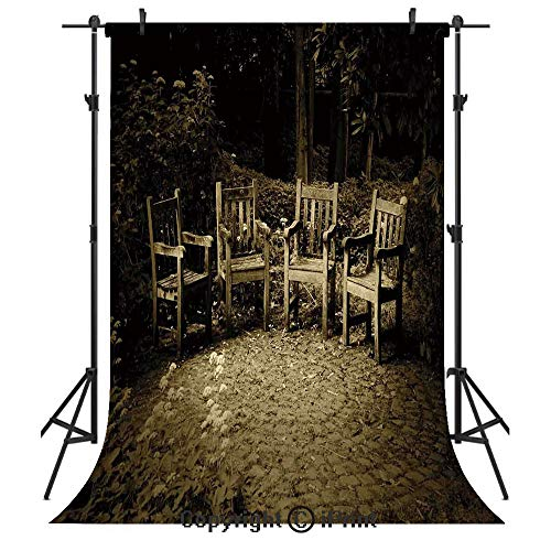 (Hobbits Photography Backdrops,Four Small Wooden Rustic Chairs in Backyard Hobbit Land New Zealand Sepia Image,Birthday Party Seamless Photo Studio Booth Background Banner 5x7ft,Brown)