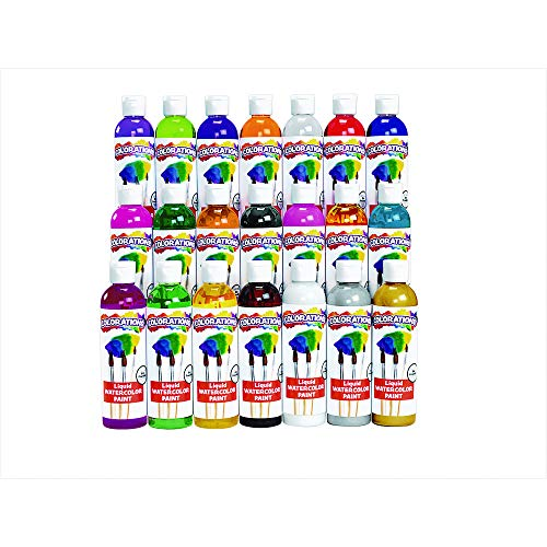 Colorations Liquid Watercolor Paints 8 oz. Bottles Classroom Supplies for Arts and Crafts Multicolor Variety Pack (Pack of 21) ()