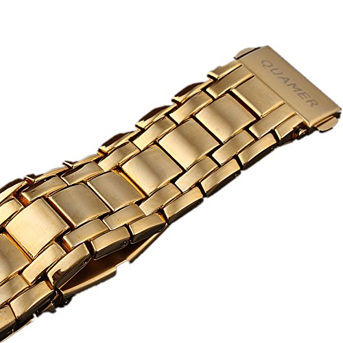 QUAMER 165 Quartz Sport Muti-Functional Wrist Watch with Analog&Digital Time Display (Gold+White)