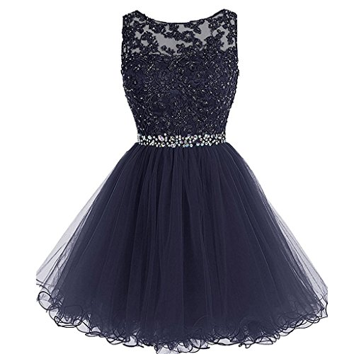 aded Lace Tulle Short Corset Prom Homecoming Dresses Dark Navy US 2 ()