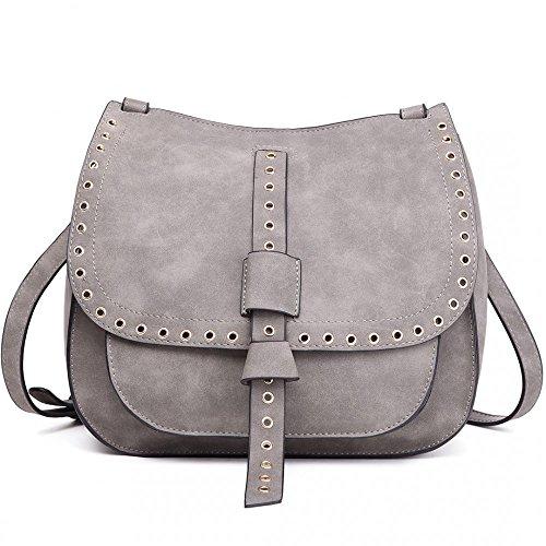 Faux Suede Shoulder Cross Body Bag Ladies Messenger Saddle bolso gris grande