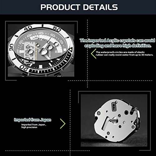5296 LED Night Light Display & Stopwatch & Alarm & Date And Week Function Men Quartz + Digital Dual Movement Watch With Silicone Band (SKU : Wa0109gb) by Dig dog bone (Image #7)