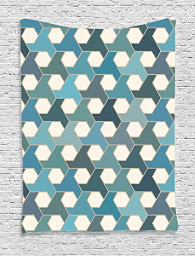 Mosaic Wall Hanging Home Decor (Ambesonne Geometric Decor Collection, Islamic Tiles Mosaic Pattern Antique Cultural Eastern Hexagon Shape Image, Bedroom Living Room Dorm Wall Hanging Tapestry, Blue Teal White)