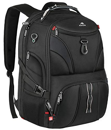 Matein Anti Theft Travel Backpack, Large School Laptop Backpack for Men Women with USB Port, TSA Friendly Water Resistant Big College Bag Business Computer Backpacks Fit 17 Inch Laptops, Black