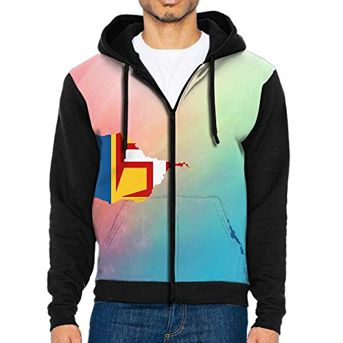 Madeira Map Flag Funny Men Zipper Hoodie Sweatshirt Sportswear Jackets With Pockets Black - Madeira Bath