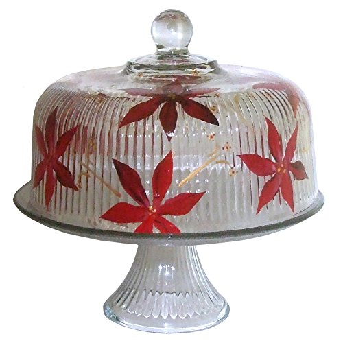 Hand Painted 2-piece Pedestal Poinsettia Cake Plate with Dome Cover.