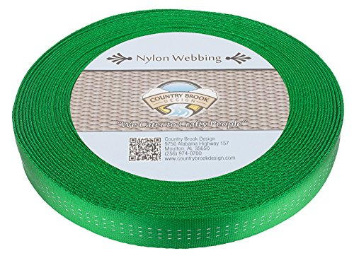 Country Brook Design 1 Inch Hot Green Climbing Spec Tubular Nylon Webbing, 10. ()