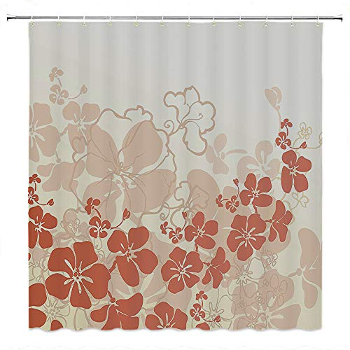 SATVSHOP Creative-Home-Ideas-Textured-Shower-Curtain-with-Beaded-Rings-Hawaii-Flowers-Silhouette-Tropical-Plants-Ornamental-Floral-Illustration-Brown-Beige.W54-x-L72-inch ()