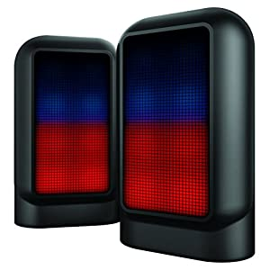Sharper Image SBT623BK Set of 2 Bluetooth Speakers With Lights, True Stereo Portable Sound System, Rechargeable
