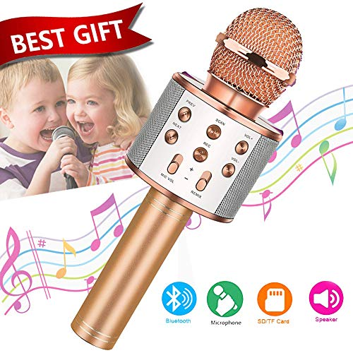 Toys For 7 8 9 10 11 Years Old Girls,Best Gifts For 6-15 Years Old Girl Boy,Bluetooth Wireless Karaoke Machine, Party Favor for Teen Boys Girls Toys Age 4-12 Gifts Toys for Teens Boy Rose Gold (Best Toys For 15 Year Olds)