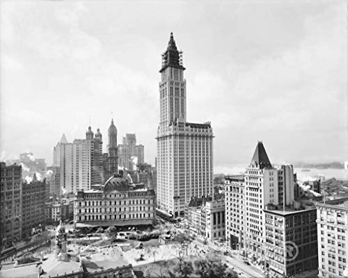 Restored Black & White Photo - Historic New York City, New York - The Towering Woolworth Building, c1915 | 14in x 11in