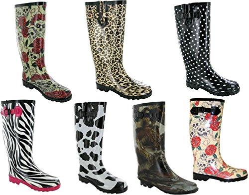 Ladies Women Rain Snow Non -Skid Waterproof Wellington Fashion Printing Boots HORSE PRINT zzVtp