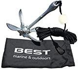 BEST Kayak Anchor Accessories for Canoe, Jet Ski, SUP, Paddle Board & Small Boat | 3.5lb Folding Grapnel Boat Anchor Kit + 40 FT Marine Rope| Kayak Fishing River Anchors | Perfect for Trolley Kits
