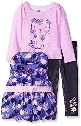 Kids Headquarters Little Girls 3 Pieces Puffer Vest Set -Bow At Waist, Purple, 6
