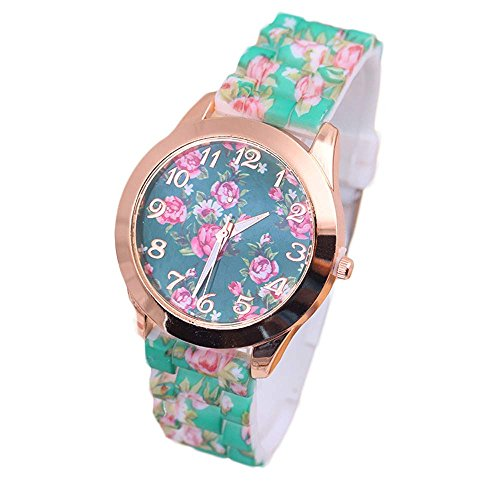 2017 New Womens Flowers Watches,COOKI Unique Analog Fashion Clearance Lady Watches Female watches on Sale Casual Wrist Watches for Women Comfortable PU Leather Watch-H28 (Green)