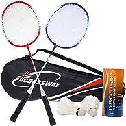 Player Badminton Racquets Set,Double Rackets Badminton Racket Set with Pair of Two Rackets,one Carrying Bag,Tw