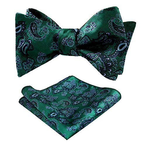 Alizeal Mens Wedding Woven Paisley Self-Tied Bow Tie and Hanky Set, Dark Green