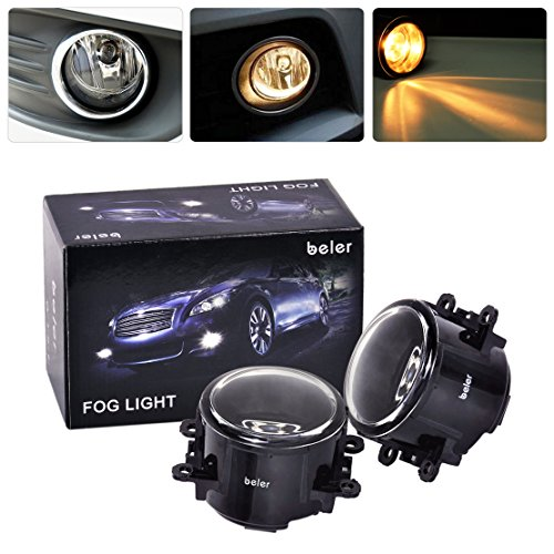 beler A Pair Driver Passenger Sides Fog Light Lamp 55W Waterproof Front Bumper Driving Lights Replacement in Box for Acura Honda Ford Nissan Subaru Lincoln Suzuki (H11 Bulbs)