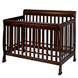 Cheap Cribs with Attached Changing Table Coffee Pine Wood+Iron Baby Bed With Ebook