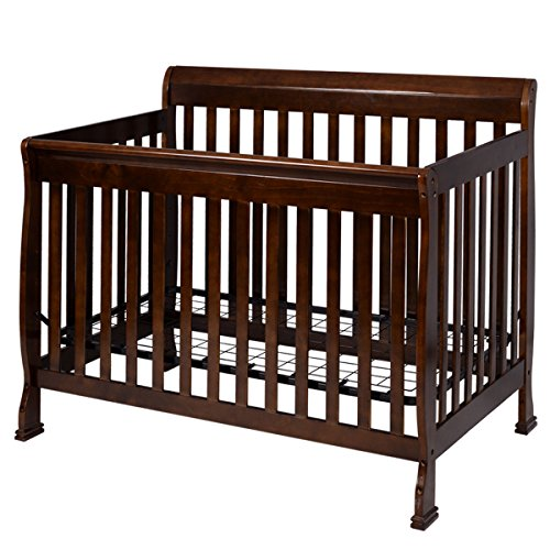 Coffee Pine Wood Baby Toddler Bed Convertible Crib Nursery Furniture Children by Happybeamy (Image #5)