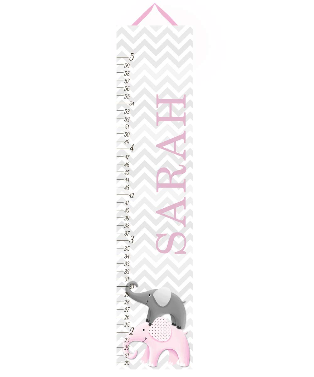 Canvas Growth Chart Pink and Grey Chevron Elephant Girls Kids Bedroom Baby Nursery Wall Art GC0231 by Toad and Lily