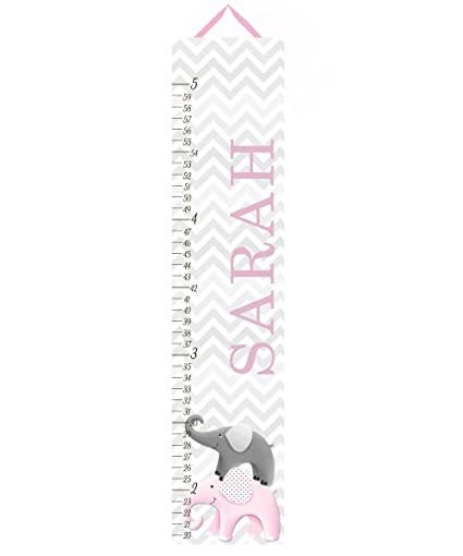 Amazon Canvas Growth Chart Pink And Grey Chevron Elephant Girls