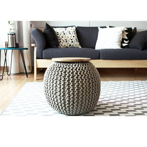 CNC Washable Cover Knit Pouf With Wooden Top Table, Home Decoration, Side Table by CrossCrown (Image #1)