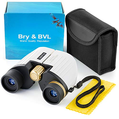 Binoculars for Kids - High Resolution, Shockproof, Compact - 8X22 Kids Binoculars for Bird Watching, Best Gift for Boys, Girls - Real Optics Set for Outdoor Toddler Games - Detective, Spy Kid - White