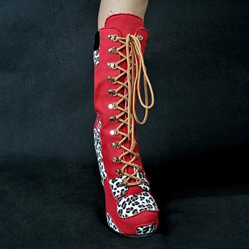 Pizzo Tacchi Stivali Scarpe Alti Delle Leopardo Rosso Stiletto Per Anteriori Vocosi Donne Fuori Col Polpaccio Stivali Indossare Notte Tacco PHACwq