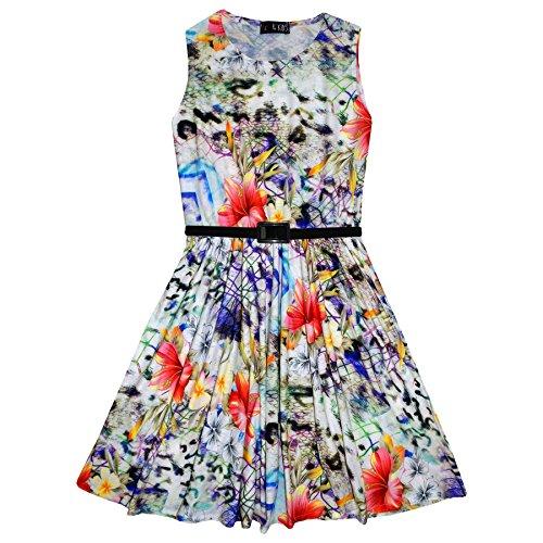 Girls 8 per Kids 13 anni Multi stampati abiti stampati 11 fiori Stampa 4 l'estate a a 7 pieghe 12 9 Età Kids 10 A2z Vestito ETwtgOqB