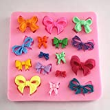 Great Chance 16 Cavities Small Bow Bowknot Silicone Mold Sugar Craft DIY Gumpaste Cake Decorating Clay
