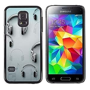 Be Good Phone Accessory // Dura Cáscara cubierta Protectora Caso Carcasa Funda de Protección para Samsung Galaxy S5 Mini, SM-G800, NOT S5 REGULAR! // Music Grey Dj Sound