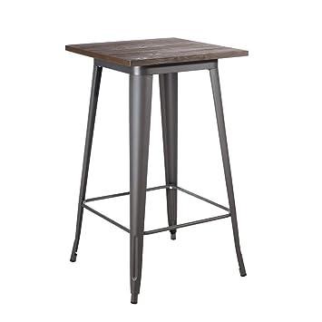Desconocido Table Haute en Bois/métal Dallas Gris 60 x 60 x 103 cm ...