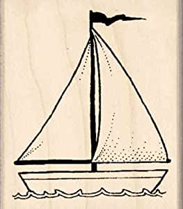 Sailboat Rubber Stamp – 1-3/4 inches x 2 inches