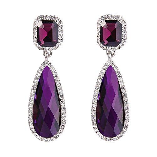 Casual Earrings Purple (BriLove Silver-Tone Dangle Earrings Women's Wedding Bridal Crystal Asscher Cut Elongated Faceted Teardrop Infinity Earrings Amethyst Color)