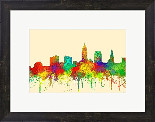Cleveland Ohio Skyline-SG by Marlene Watson Framed Art Print Wall Picture, Espresso Brown Frame, 19 x 15 inches