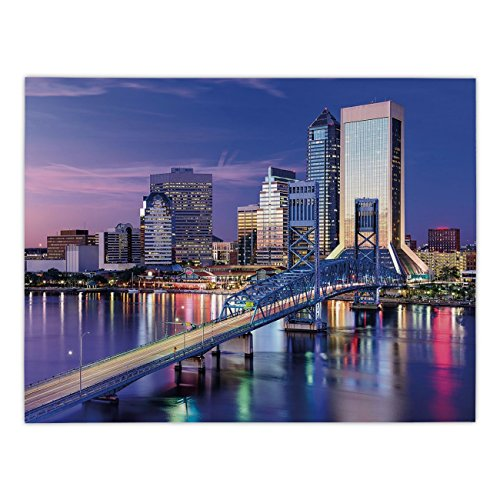 Polyester Rectangular Tablecloth,United States,Urban Cityscape Bridge Office Buildings Jacksonville Florida,Violet Blue Light Pink Tan,Dining Room Kitchen Picnic Table Cloth Cover,for Outdoor Indoor ()