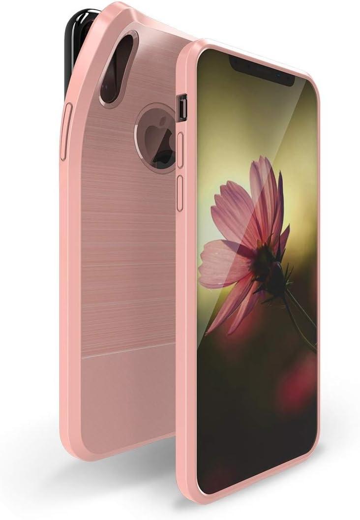 BMY Belles étuis et Housses DUT DUCIS série Mojo Coque TPU Antichoc en Fibre de Carbone magnétique pour iPhone X/XS pour iphone (Couleur: Rose)