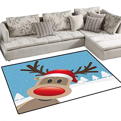 Christmas Bath Mat 3D Digital Printing Mat Reindeer Rudolph with Red Nose and Santa Claus Hat Snowy Forest Door Mat Increase 3'x5' Light Blue Red Light Brown -
