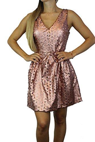 GLAMOROUS Damen Kleid Gr 38 Rose Gold Metallic Ladies Dress Cut-Out Kleid #O106a