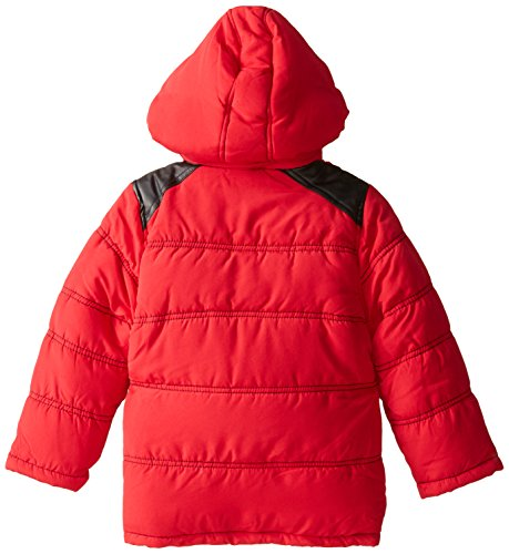 Jacket Pockets Red and Bubble Boys' Hood Pleather Detachable YMI with Contrasting qxPwEAPO7