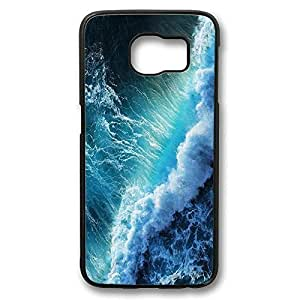 UCMDA High Quality Blue Ocean Waves Edge Case Impact Protection Black Hard Back Case Cover for Samsung Galaxy S6 by icecream design