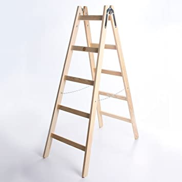 Klappleiter Zweiseitige Holzleiter 3-6 Stufen Stehleiter Anlegeleiter Leiter