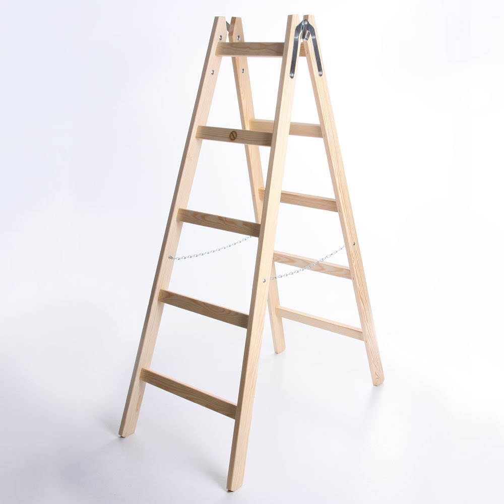 Holzleiter STANDARD 2x5 Stufen Zweiseitige Klappleiter Leiter Haushaltsleiter 150kg owlyshop