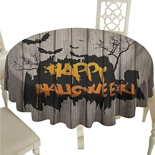 Round Tablecloth Vinyl Halloween,Happy Graffiti Style Lettering on Rustic Wooden Fence Scary Evil Holiday Artwork,Multicolor D50,for 40 inch Table ()