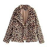 Inkach Women Cardigan Open Front | Leopard Print Winter Warm Coat - Long Sleeve Faux Fur Jacket (M, Khaki)