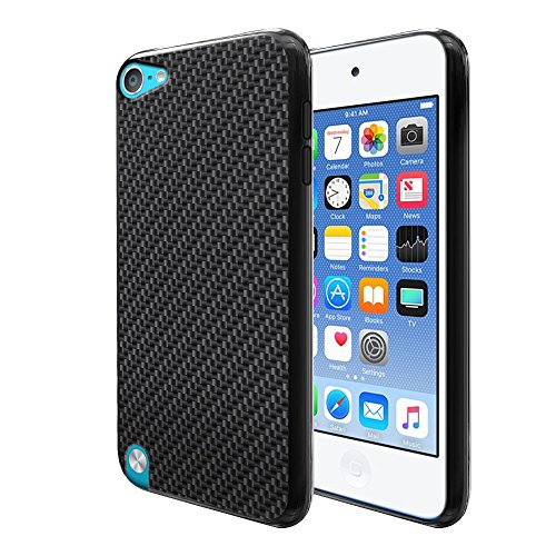 FINCIBO Case Compatible with Apple iPod Touch 5 6, Flexible TPU Black Silicone Soft Gel Skin Protector Cover Case for iPod Touch 5 (5th Generation) iPod Touch 6 (6th Generation) - Black Carbon Fiber