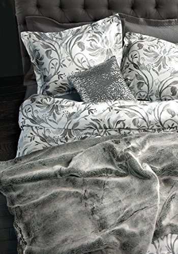 Queen Scroll (Nicole Miller Watercolor Leaf Scroll Luxury Duvet Cover Shams Bedding 4pc Set Silver Taupe Gray 300TC Cotton Floral Branches Shadow Damask Medallion with a Bonus Sequin Pillow Cover (Queen, White))