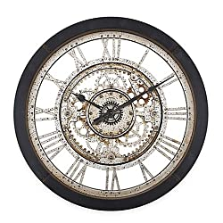 Antique Gear Wall Clock, 25 Diamenter with Wide Roman Numerals and Quartz Movement, Black, A Must Have Home Decor